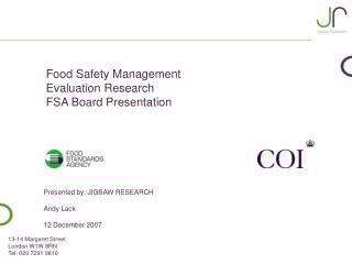 Food Safety Management Evaluation Research FSA Board Presentation
