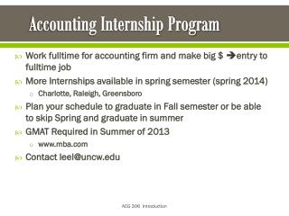 Accounting Internship  Program