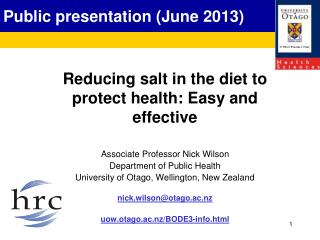 Public presentation (June 2013)