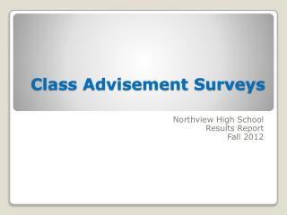 Class Advisement Surveys