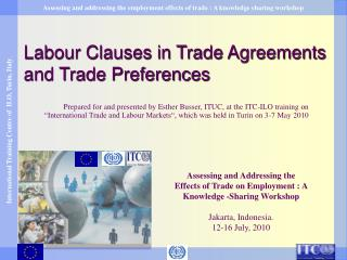 Labour Clauses in Trade Agreements  and Trade Preferences