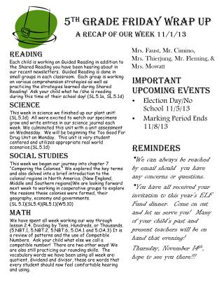 5 th  Grade Friday Wrap up A recap of our week 11/1/13
