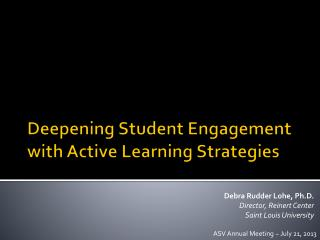 Deepening Student Engagement with Active Learning Strategies