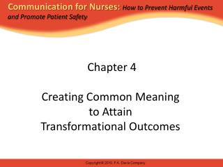 Chapter 4 Creating Common Meaning  to Attain  Transformational Outcomes