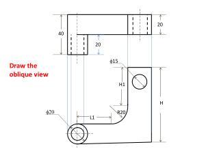 Draw the oblique view