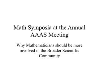 Math Symposia at the Annual AAAS Meeting