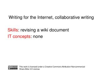 Writing for the Internet, collaborative writing