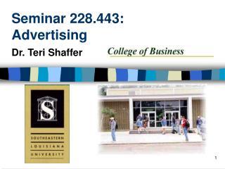 Seminar 228.443: Advertising