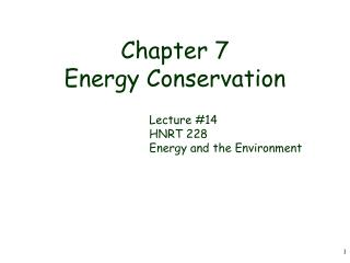 Chapter 7 Energy Conservation