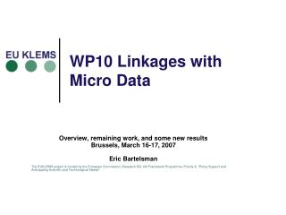 WP10 Linkages with Micro Data