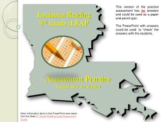 Louisiana Reading 3 rd  Grade iLEAP