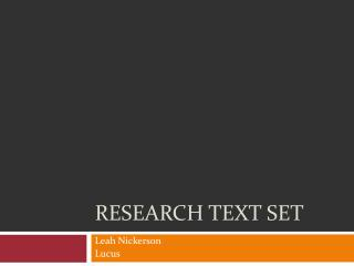 Research Text Set