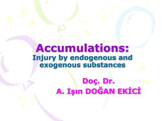 Accumulations: Injury by endogenous and exogenous substances