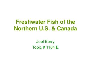 Freshwater Fish of the Northern U.S. & Canada