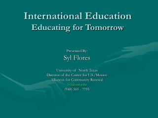 International Education Educating for Tomorrow