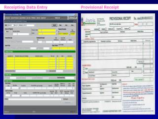 Receipting Data Entry                             Provisional Receipt