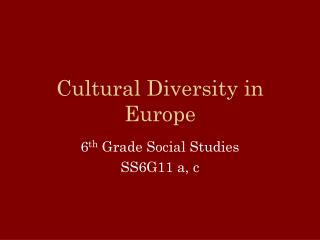 Cultural Diversity in Europe
