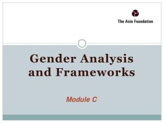 Gender Analysis and Frameworks