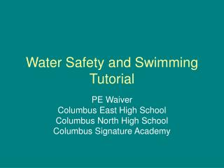 Water Safety and Swimming Tutorial