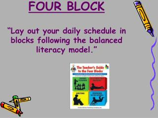 "FOUR BLOCK ""Lay out your daily schedule in blocks following the balanced literacy model."""