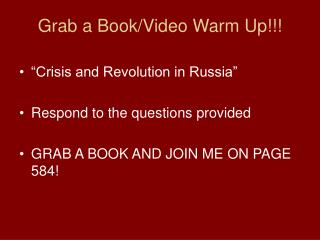 Grab a Book/Video Warm Up!!!