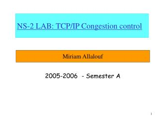 NS-2 LAB: TCP/IP Congestion control