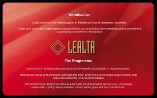 Introduction Lealta Benefits is the leading supplier of Benefits services to companies nationwide.