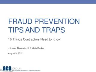 Fraud Prevention Tips and traps