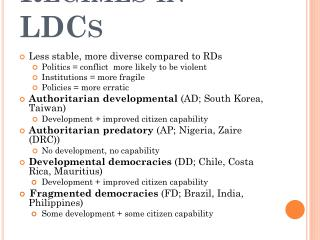 Regimes in LDCs