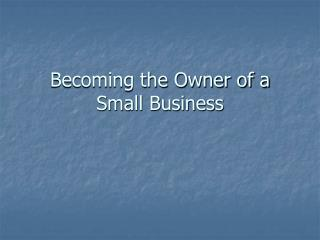 Becoming the Owner of a Small Business