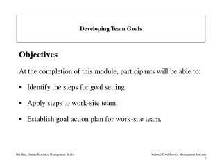 Developing Team Goals