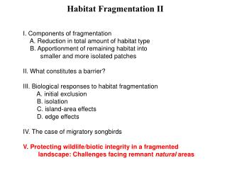 Habitat Fragmentation II
