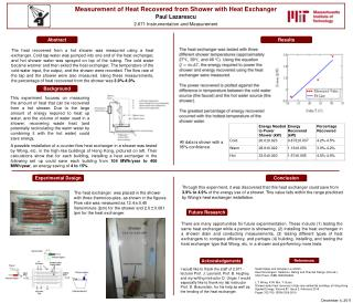 Measurement of Heat Recovered from Shower with Heat Exchanger Paul Lazarescu 2.671 Instrumentation and Measurement