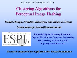 Clustering Algorithms for  Perceptual Image Hashing
