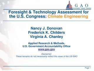 Foresight & Technology Assessment for the U.S. Congress:  Climate Engineering
