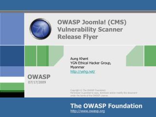 OWASP Joomla! (CMS) Vulnerability Scanner Release Flyer