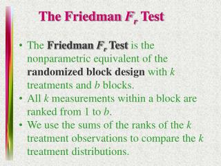 The Friedman  F r  Test