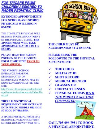 EXTENDED APPOINTMENTS FOR SCHOOL AND SPORTS PHYSICALS WILL BEGIN 06/02/11.