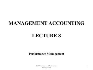 Management Accounting Lecture 8