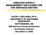 CREATIVE SUPPLY MANAGEMENT SOLUTIONS FOR THE SERVICES SECTOR