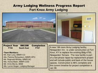 Army Lodging Wellness Progress Report