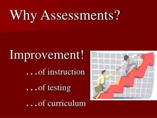 Why Assessments? Improvement! 	… of instruction  	… of testing 	… of curriculum