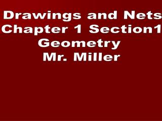 Drawings and Nets Chapter 1 Section1 Geometry  Mr. Miller