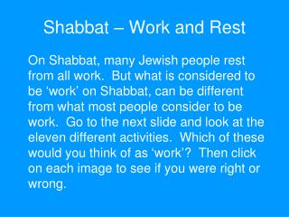 Shabbat – Work and Rest