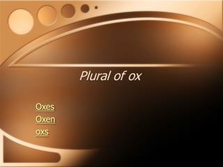 Plural of ox