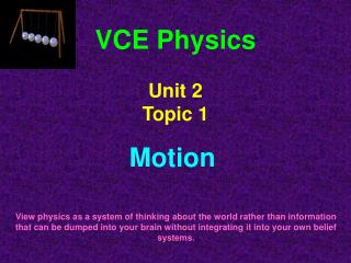 VCE Physics Unit 2  Topic 1