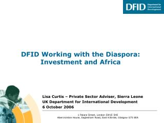 DFID Working with the Diaspora: Investment and Africa