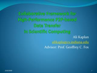 Collaborative Framework for  High-Performance P2P-based  Data Transfer  in Scientific Computing