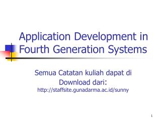 Application Development in Fourth Generation Systems
