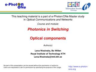 Photonics in Switching Optical components